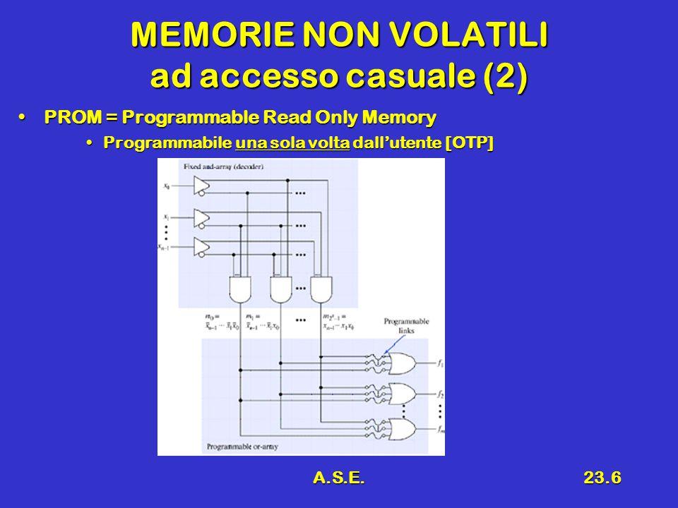A.S.E.23.6 MEMORIE NON VOLATILI ad accesso casuale (2) PROM = Programmable Read Only MemoryPROM = Programmable Read Only Memory Programmabile una sola volta dall'utente [OTP]Programmabile una sola volta dall'utente [OTP]