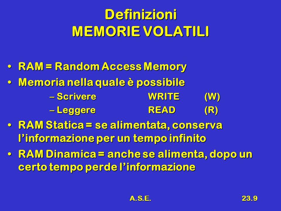 A.S.E.23.9 Definizioni MEMORIE VOLATILI RAM = Random Access MemoryRAM = Random Access Memory Memoria nella quale è possibileMemoria nella quale è possibile –ScrivereWRITE (W) –LeggereREAD(R) RAM Statica = se alimentata, conserva l'informazione per un tempo infinitoRAM Statica = se alimentata, conserva l'informazione per un tempo infinito RAM Dinamica = anche se alimenta, dopo un certo tempo perde l'informazioneRAM Dinamica = anche se alimenta, dopo un certo tempo perde l'informazione