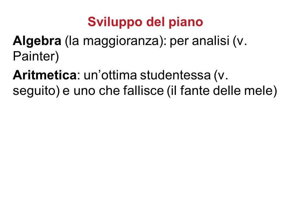 Sviluppo del piano Algebra (la maggioranza): per analisi (v. Painter) Aritmetica: un'ottima studentessa (v. seguito) e uno che fallisce (il fante dell