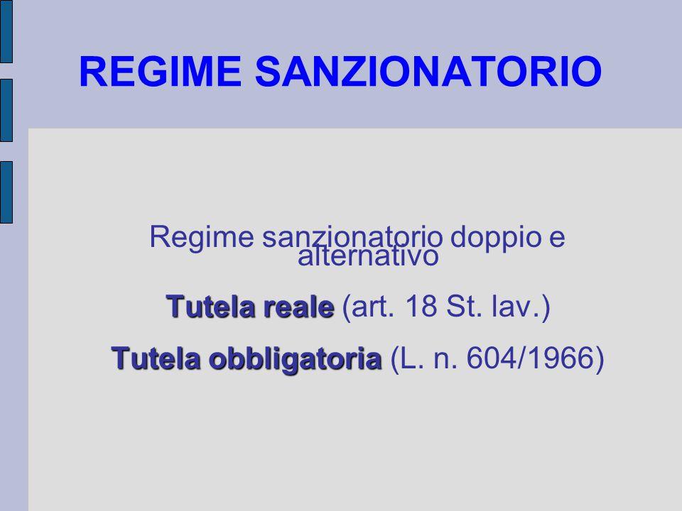 REGIME SANZIONATORIO Regime sanzionatorio doppio e alternativo Tutela reale Tutela reale (art.