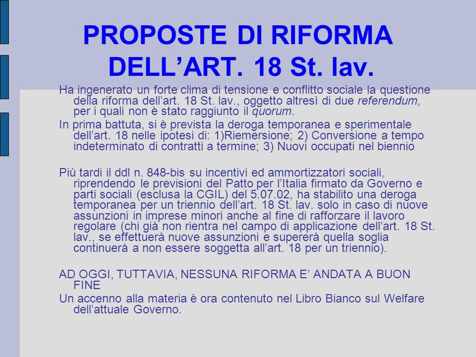 PROPOSTE DI RIFORMA DELL'ART. 18 St. lav.
