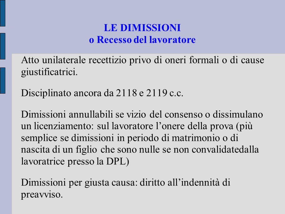 LE DIMISSIONI o Recesso del lavoratore Atto unilaterale recettizio privo di oneri formali o di cause giustificatrici.