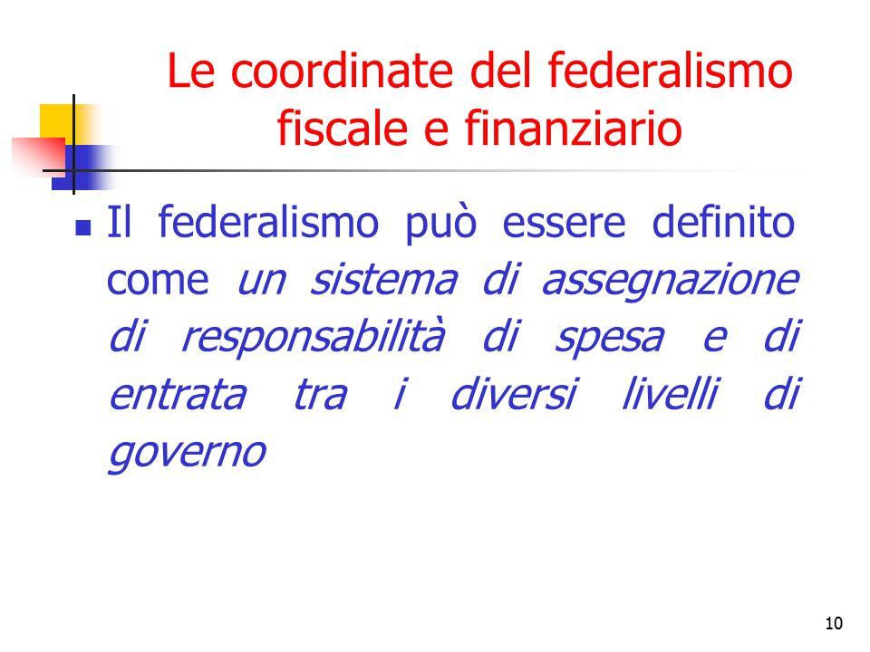 10 Le coordinate del federalismo fiscale e finanziario Il federalismo può essere definito come un sistema di assegnazione di responsabilità di spesa e