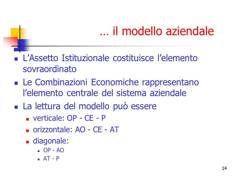 14 L'Assetto Istituzionale costituisce l'elemento sovraordinato Le Combinazioni Economiche rappresentano l'elemento centrale del sistema aziendale La