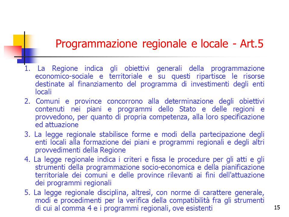 15 Programmazione regionale e locale - Art.5 1. La Regione indica gli obiettivi generali della programmazione economico-sociale e territoriale e su qu