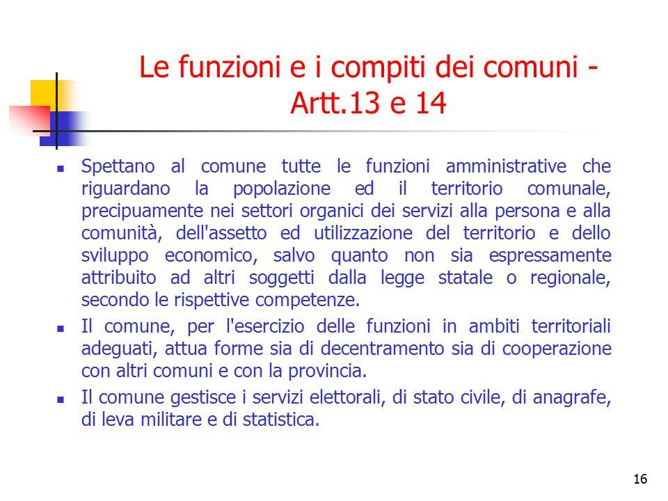 16 Le funzioni e i compiti dei comuni - Artt.13 e 14 Spettano al comune tutte le funzioni amministrative che riguardano la popolazione ed il territori