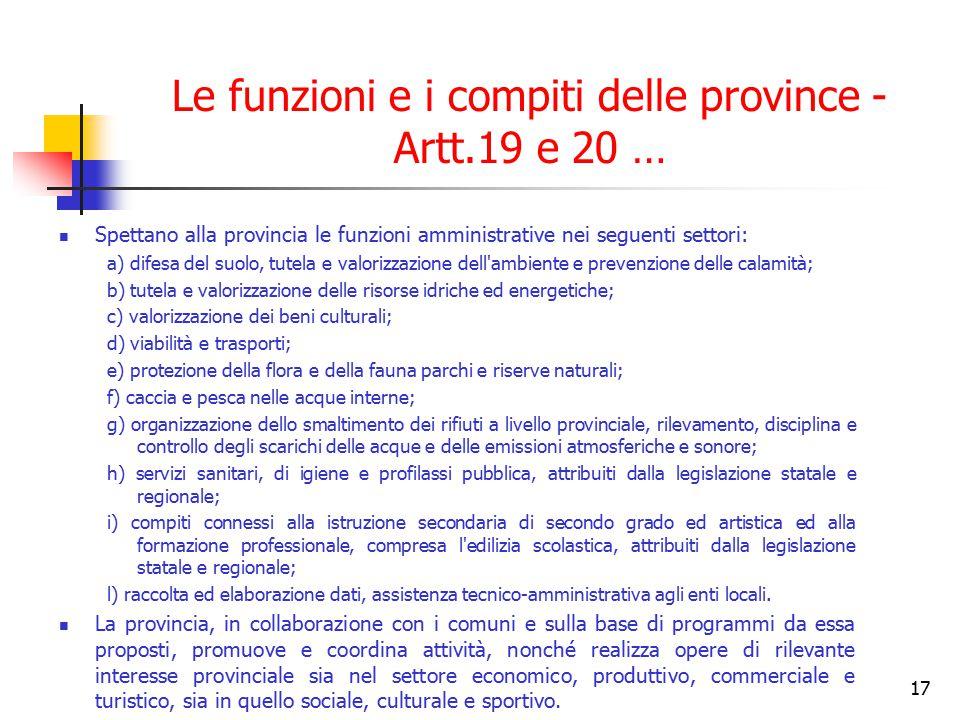 17 Le funzioni e i compiti delle province - Artt.19 e 20 … Spettano alla provincia le funzioni amministrative nei seguenti settori: a) difesa del suol