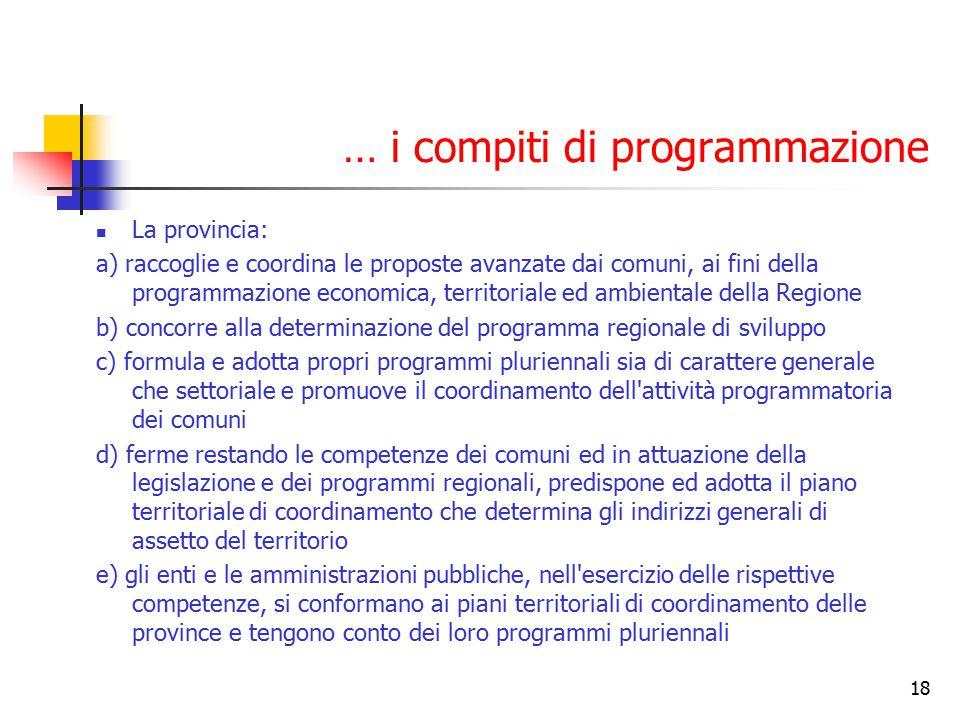 18 … i compiti di programmazione La provincia: a) raccoglie e coordina le proposte avanzate dai comuni, ai fini della programmazione economica, territ