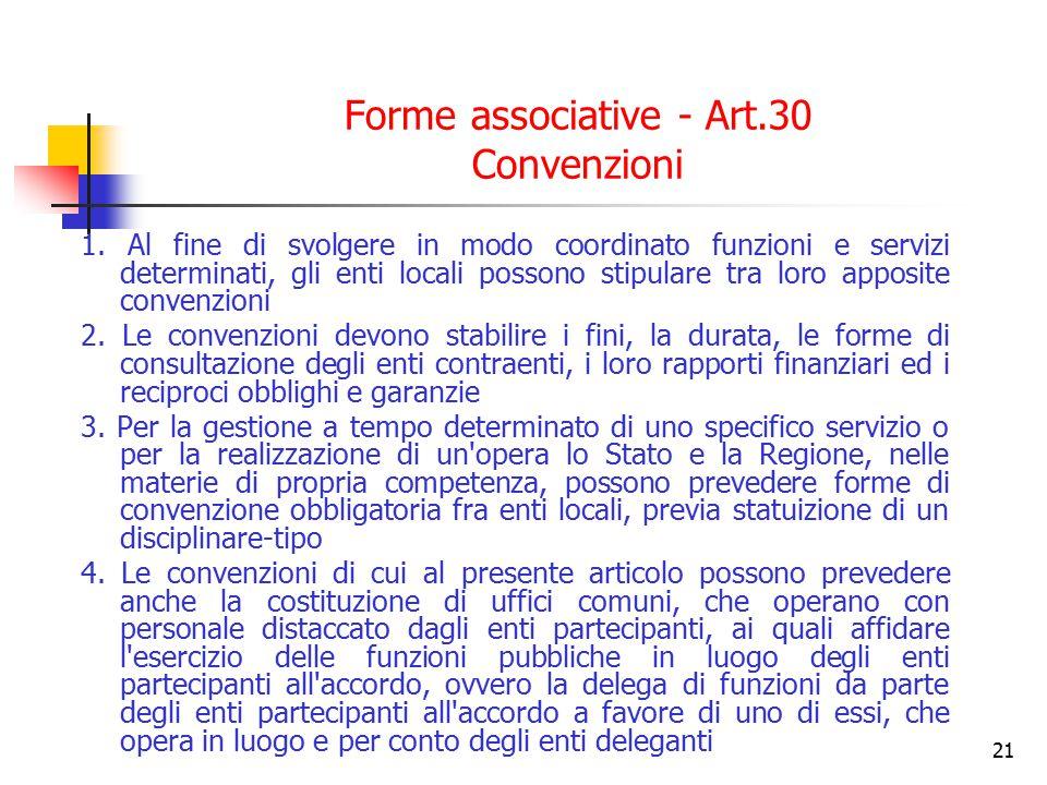 21 Forme associative - Art.30 Convenzioni 1. Al fine di svolgere in modo coordinato funzioni e servizi determinati, gli enti locali possono stipulare