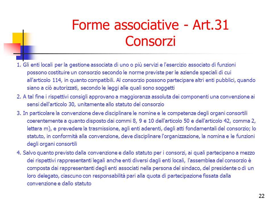22 Forme associative - Art.31 Consorzi 1. Gli enti locali per la gestione associata di uno o più servizi e l'esercizio associato di funzioni possono c