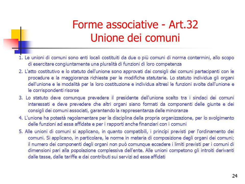 24 Forme associative - Art.32 Unione dei comuni 1. Le unioni di comuni sono enti locali costituiti da due o più comuni di norma contermini, allo scopo