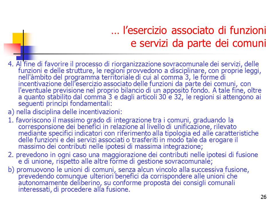 26 … l'esercizio associato di funzioni e servizi da parte dei comuni 4. Al fine di favorire il processo di riorganizzazione sovracomunale dei servizi,