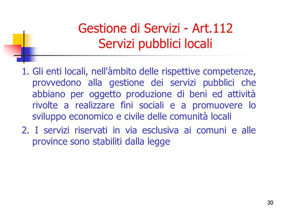 30 Gestione di Servizi - Art.112 Servizi pubblici locali 1. Gli enti locali, nell'àmbito delle rispettive competenze, provvedono alla gestione dei ser