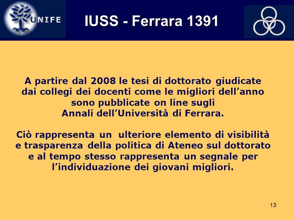 13 A partire dal 2008 le tesi di dottorato giudicate dai collegi dei docenti come le migliori dell'anno sono pubblicate on line sugli Annali dell'Univ