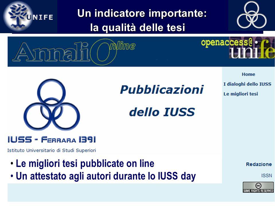 14 Un indicatore importante: la qualità delle tesi Le migliori tesi pubblicate on line Un attestato agli autori durante lo IUSS day