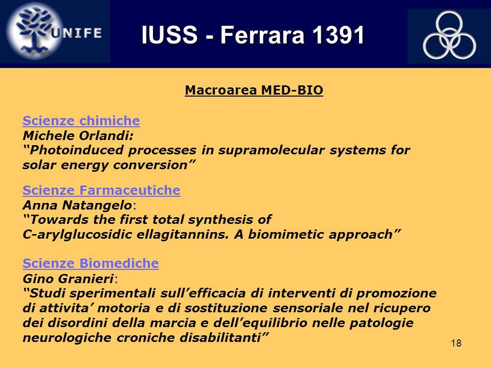"""18 Macroarea MED-BIO Scienze Biomediche Gino Granieri: """"Studi sperimentali sull'efficacia di interventi di promozione di attivita' motoria e di sostit"""
