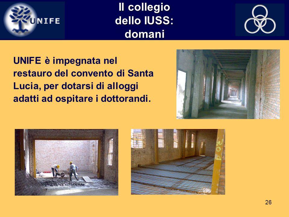 26 Il collegio dello IUSS: domani UNIFE è impegnata nel restauro del convento di Santa Lucia, per dotarsi di alloggi adatti ad ospitare i dottorandi.