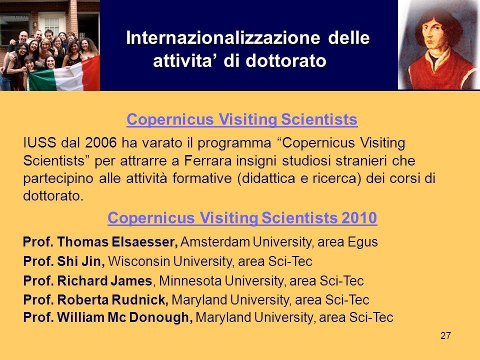 27 Internazionalizzazione delle attivita' di dottorato Internazionalizzazione delle attivita' di dottorato Copernicus Visiting Scientists IUSS dal 200
