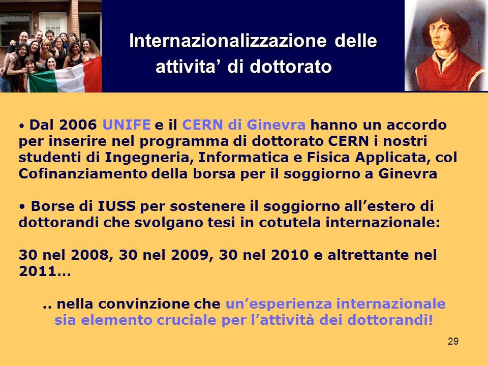 29 Dal 2006 UNIFE e il CERN di Ginevra hanno un accordo per inserire nel programma di dottorato CERN i nostri studenti di Ingegneria, Informatica e Fi