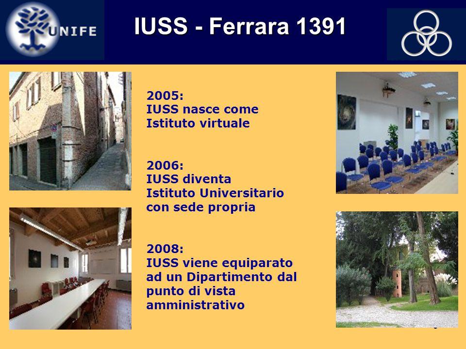 3 IUSS - Ferrara 1391 IUSS - Ferrara 1391 2005: IUSS nasce come Istituto virtuale 2006: IUSS diventa Istituto Universitario con sede propria 2008: IUS