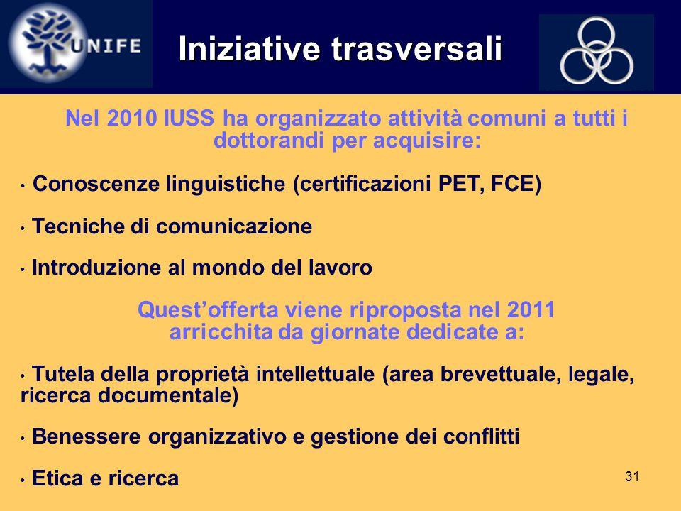 31 Iniziative trasversali Nel 2010 IUSS ha organizzato attività comuni a tutti i dottorandi per acquisire: Conoscenze linguistiche (certificazioni PET