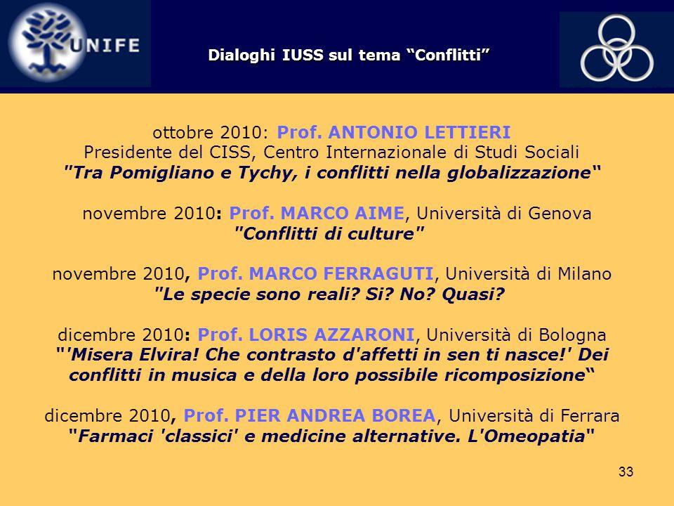 33 ottobre 2010: Prof. ANTONIO LETTIERI Presidente del CISS, Centro Internazionale di Studi Sociali