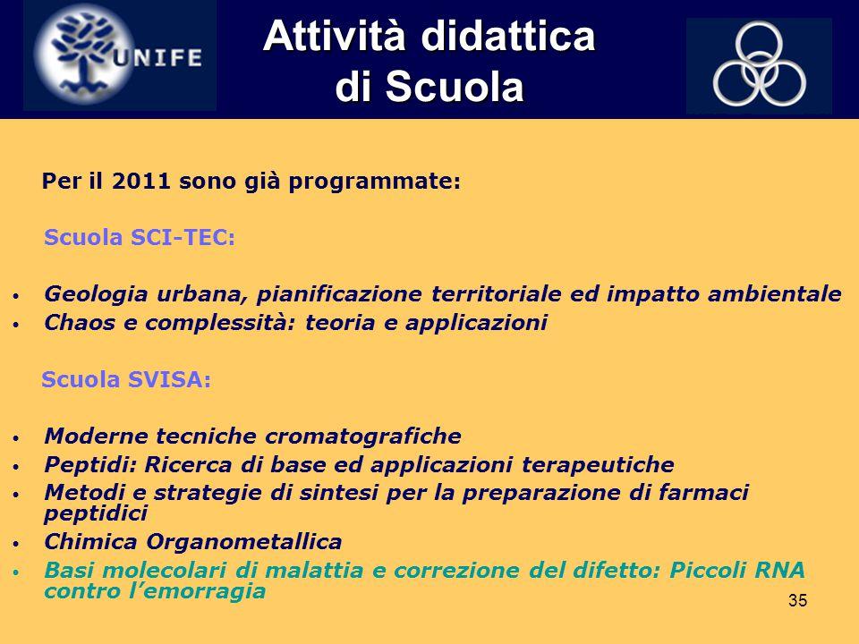 35 Attività didattica di Scuola Per il 2011 sono già programmate: Scuola SCI-TEC: Geologia urbana, pianificazione territoriale ed impatto ambientale C
