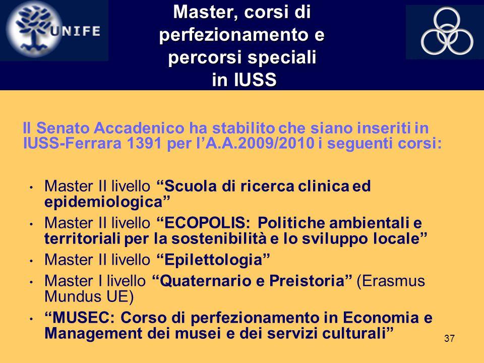 37 Master, corsi di perfezionamento e percorsi speciali in IUSS Il Senato Accadenico ha stabilito che siano inseriti in IUSS-Ferrara 1391 per l'A.A.20