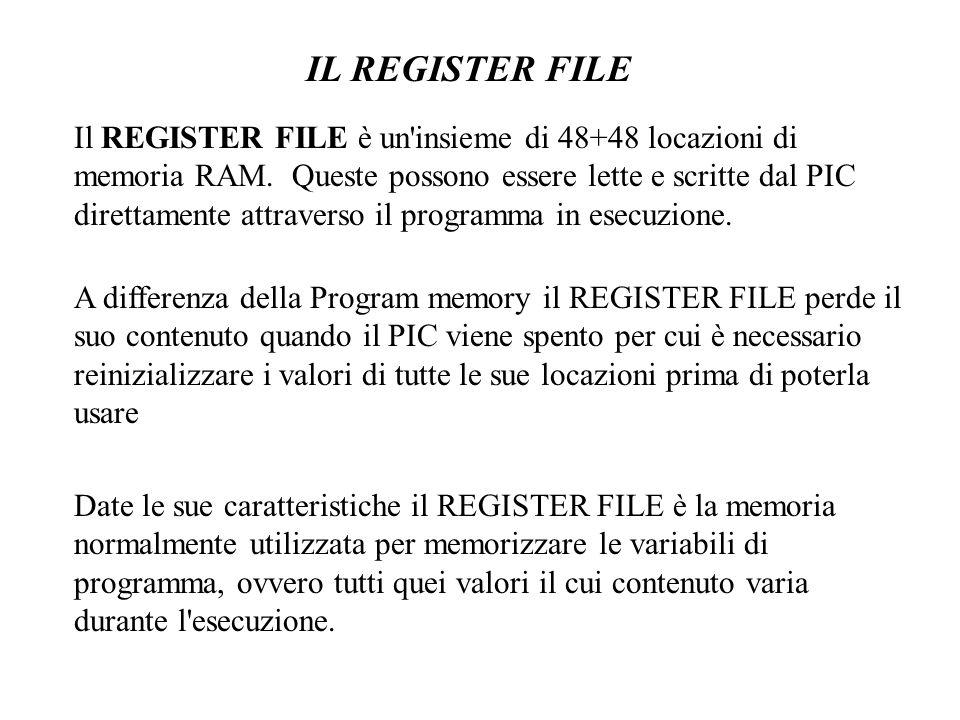 Le locazioni di memoria presenti nel REGISTER FILE sono indirizzabili direttamente in uno spazio di memoria che va da 0x00 a 0x2F per un totale di 48 byte, denominato pagina 0.