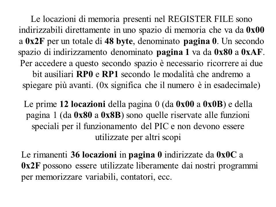 I registri specializzati del PIC vengono utilizzati molto di frequente nei programmi.