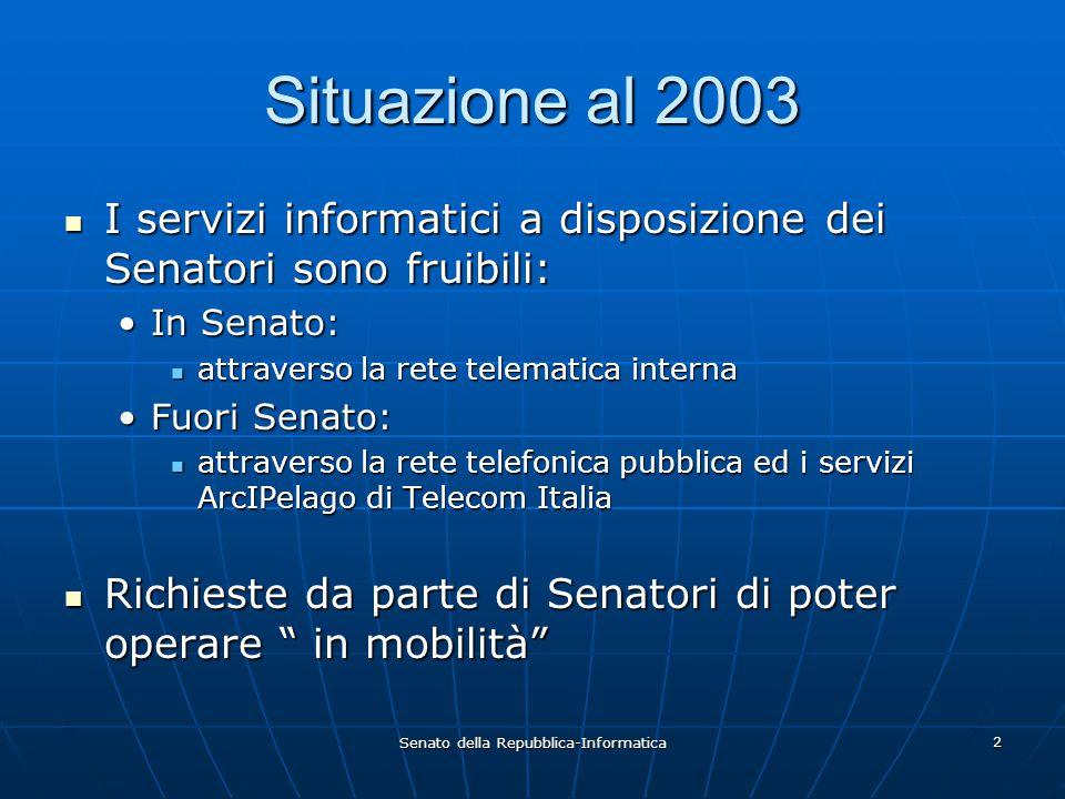 Senato della Repubblica-Informatica 2 Situazione al 2003 I servizi informatici a disposizione dei Senatori sono fruibili: I servizi informatici a disp