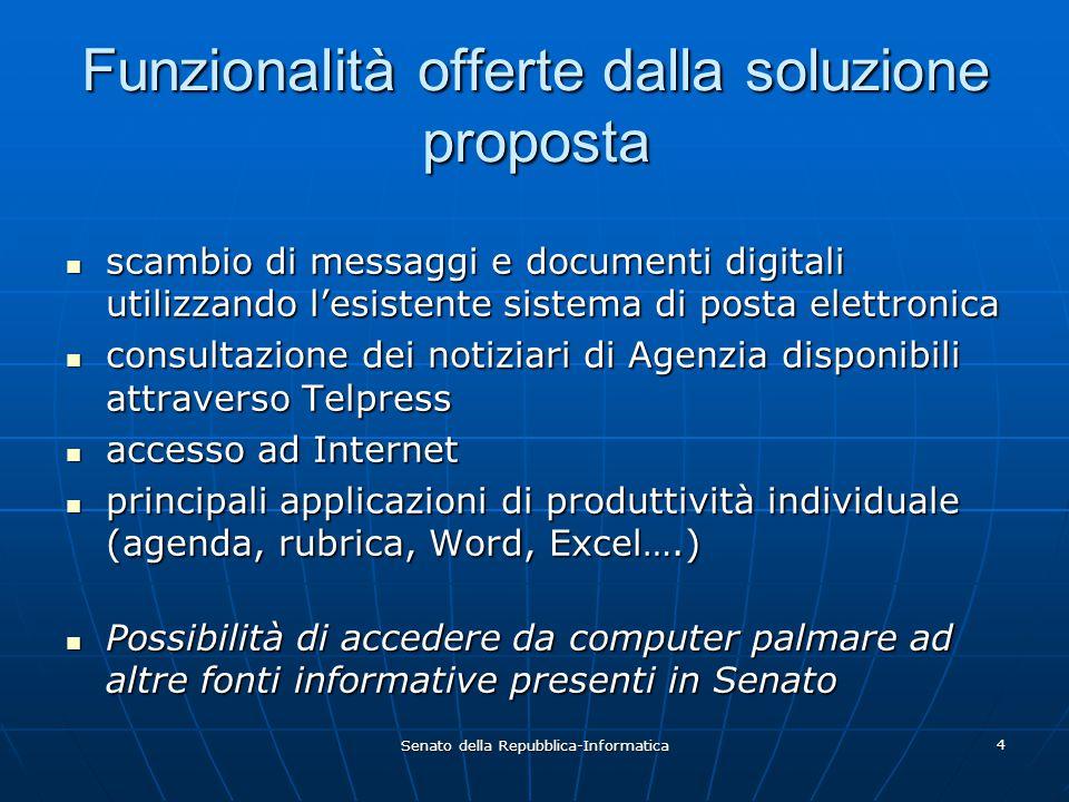 Senato della Repubblica-Informatica 4 Funzionalità offerte dalla soluzione proposta scambio di messaggi e documenti digitali utilizzando l'esistente s