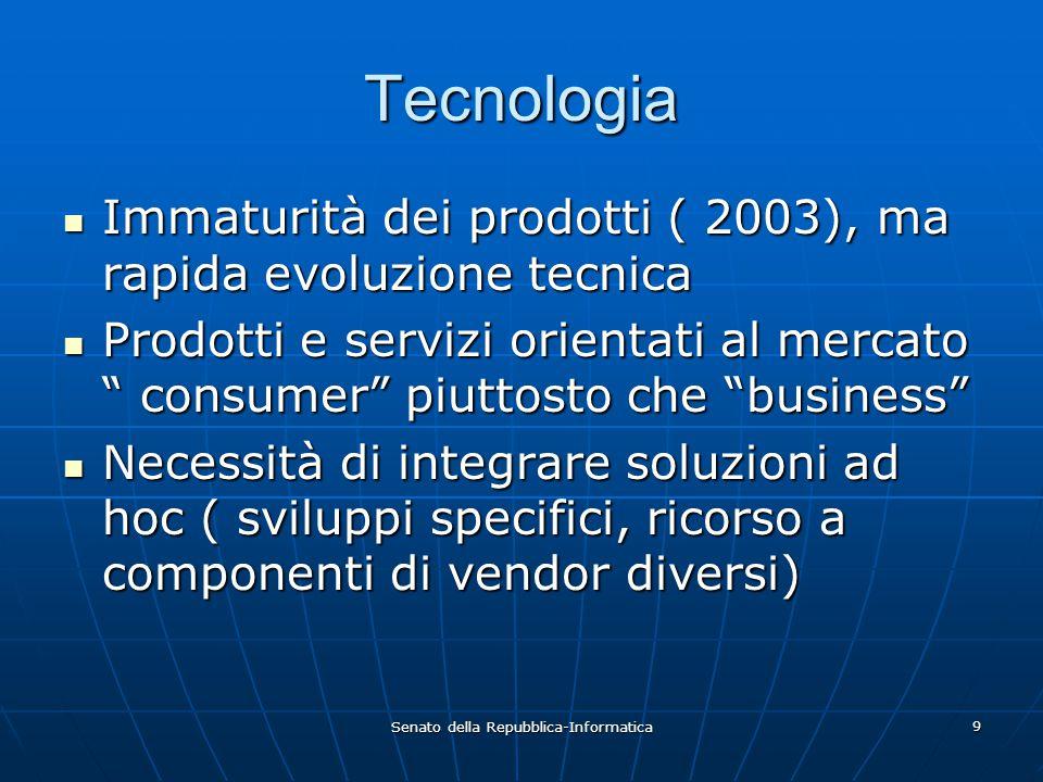 Senato della Repubblica-Informatica 9 Tecnologia Immaturità dei prodotti ( 2003), ma rapida evoluzione tecnica Immaturità dei prodotti ( 2003), ma rap