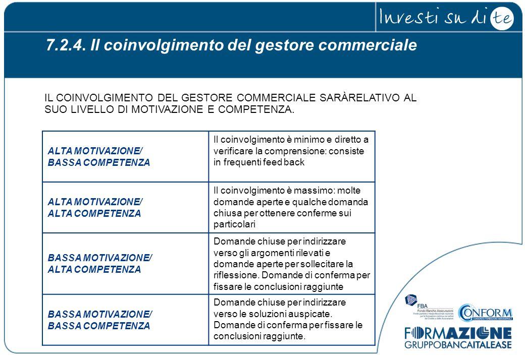 7.2.4. Il coinvolgimento del gestore commerciale ALTA MOTIVAZIONE/ BASSA COMPETENZA Il coinvolgimento è minimo e diretto a verificare la comprensione: