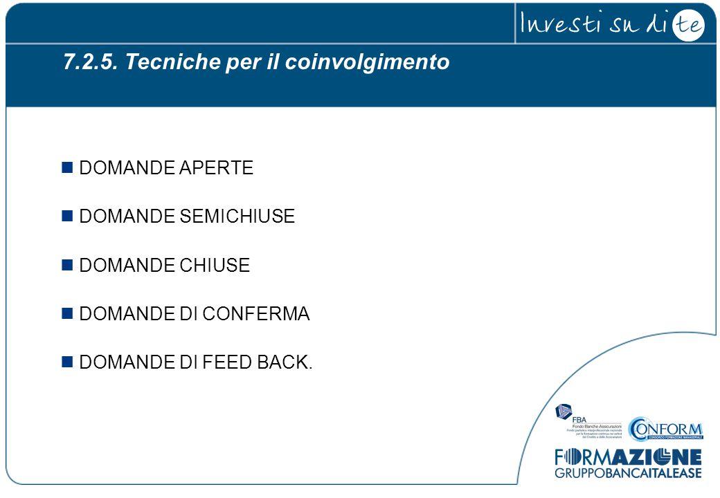 7.2.5. Tecniche per il coinvolgimento DOMANDE APERTE DOMANDE SEMICHIUSE DOMANDE CHIUSE DOMANDE DI CONFERMA DOMANDE DI FEED BACK.
