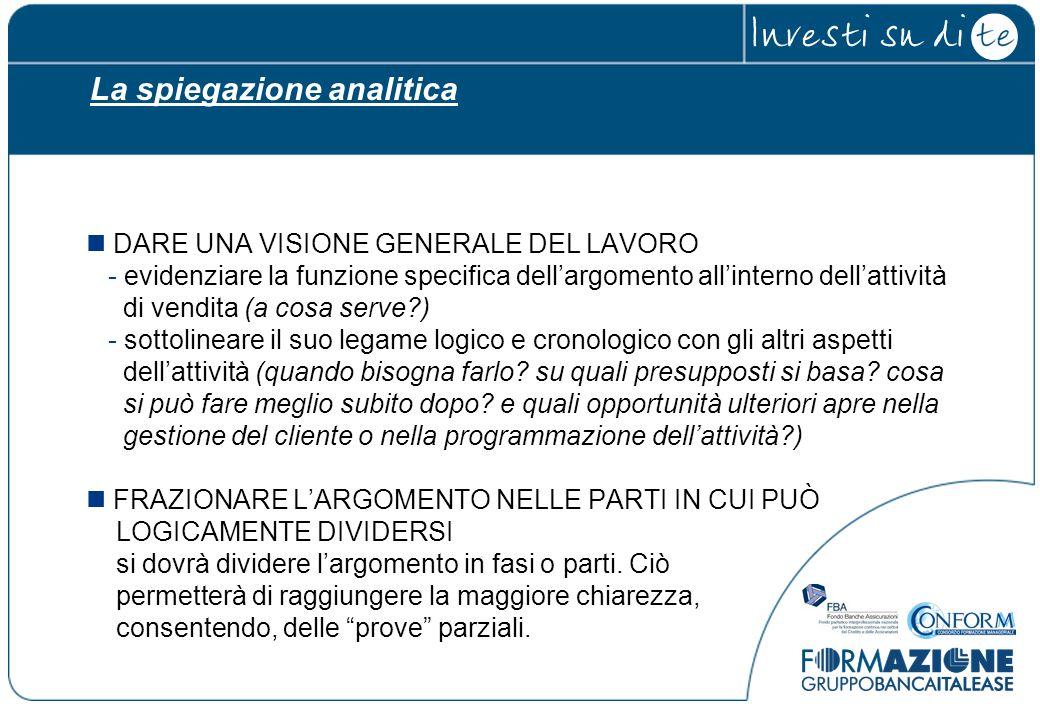 La spiegazione analitica DARE UNA VISIONE GENERALE DEL LAVORO - evidenziare la funzione specifica dell'argomento all'interno dell'attività di vendita