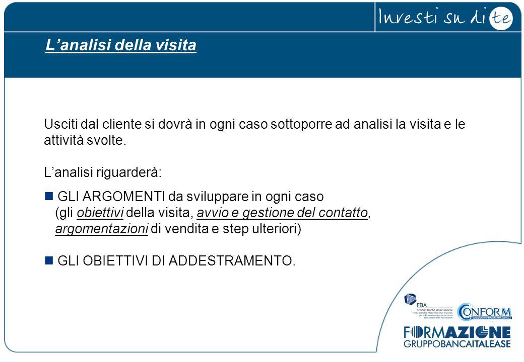 L'analisi della visita Usciti dal cliente si dovrà in ogni caso sottoporre ad analisi la visita e le attività svolte. L'analisi riguarderà: GLI ARGOME