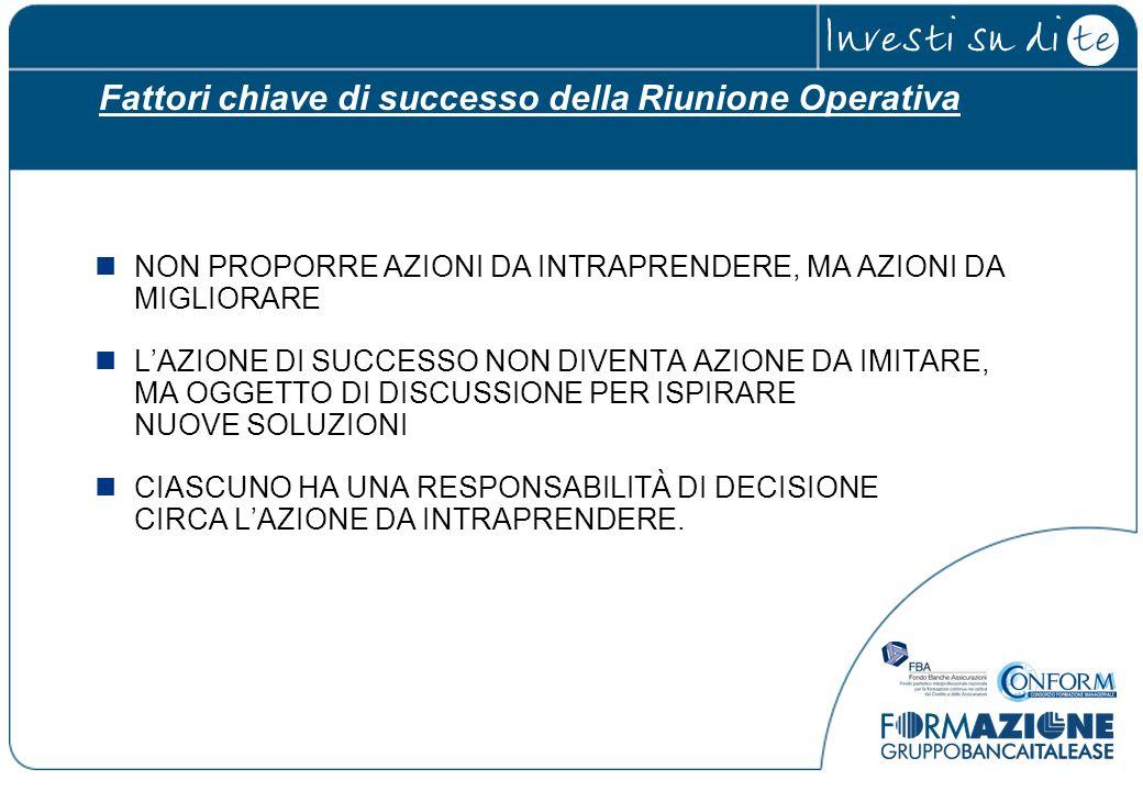 Fattori chiave di successo della Riunione Operativa NON PROPORRE AZIONI DA INTRAPRENDERE, MA AZIONI DA MIGLIORARE L'AZIONE DI SUCCESSO NON DIVENTA AZI