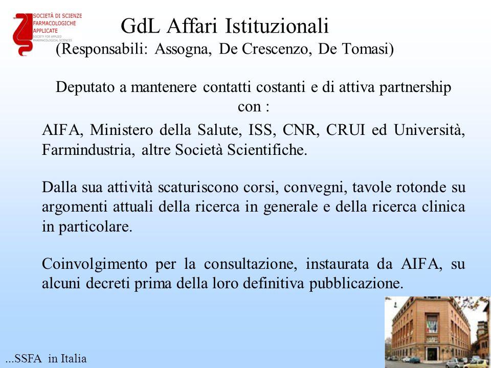 GdL Affari Istituzionali (Responsabili: Assogna, De Crescenzo, De Tomasi) Deputato a mantenere contatti costanti e di attiva partnership con : AIFA, M