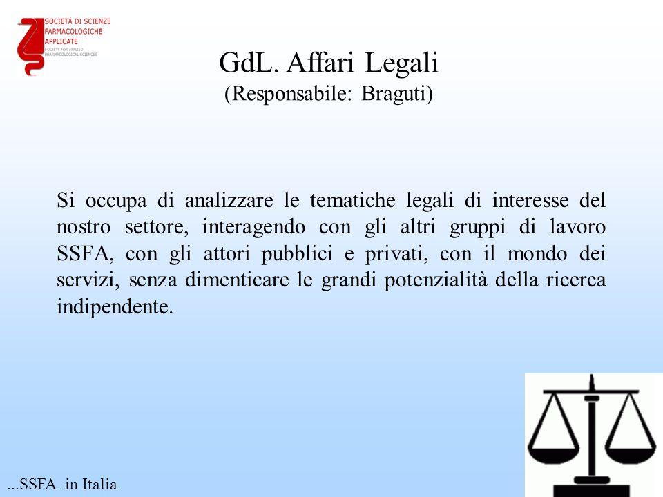 Si occupa di analizzare le tematiche legali di interesse del nostro settore, interagendo con gli altri gruppi di lavoro SSFA, con gli attori pubblici