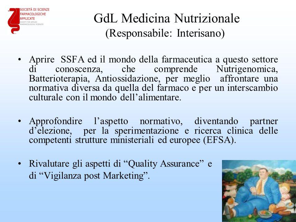 GdL Medicina Nutrizionale (Responsabile: Interisano) Aprire SSFA ed il mondo della farmaceutica a questo settore di conoscenza, che comprende Nutrigenomica, Batterioterapia, Antiossidazione, per meglio affrontare una normativa diversa da quella del farmaco e per un interscambio culturale con il mondo dell'alimentare.