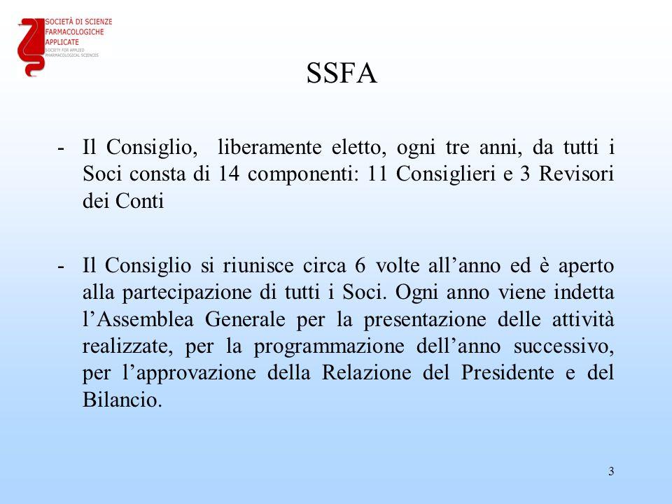 SSFA -Il Consiglio, liberamente eletto, ogni tre anni, da tutti i Soci consta di 14 componenti: 11 Consiglieri e 3 Revisori dei Conti -Il Consiglio si riunisce circa 6 volte all'anno ed è aperto alla partecipazione di tutti i Soci.