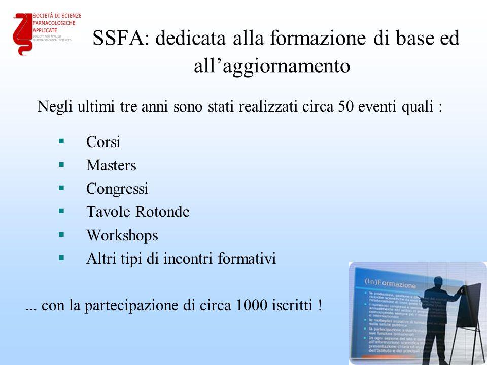 SSFA: dedicata alla formazione di base ed all'aggiornamento  Corsi  Masters  Congressi  Tavole Rotonde  Workshops  Altri tipi di incontri formativi Negli ultimi tre anni sono stati realizzati circa 50 eventi quali :...