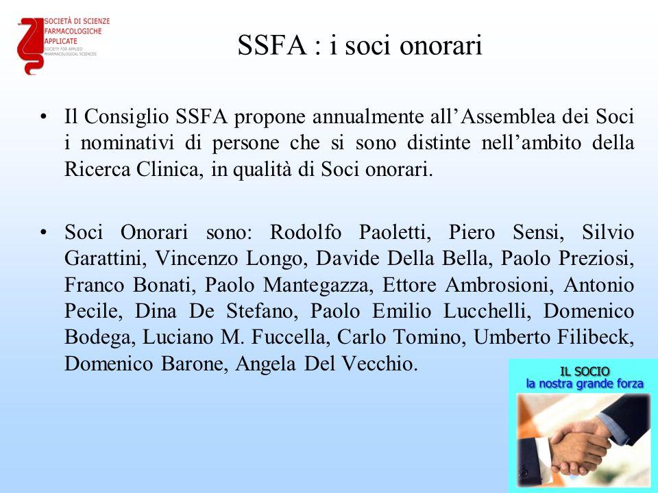 SSFA : i soci onorari Il Consiglio SSFA propone annualmente all'Assemblea dei Soci i nominativi di persone che si sono distinte nell'ambito della Ricerca Clinica, in qualità di Soci onorari.