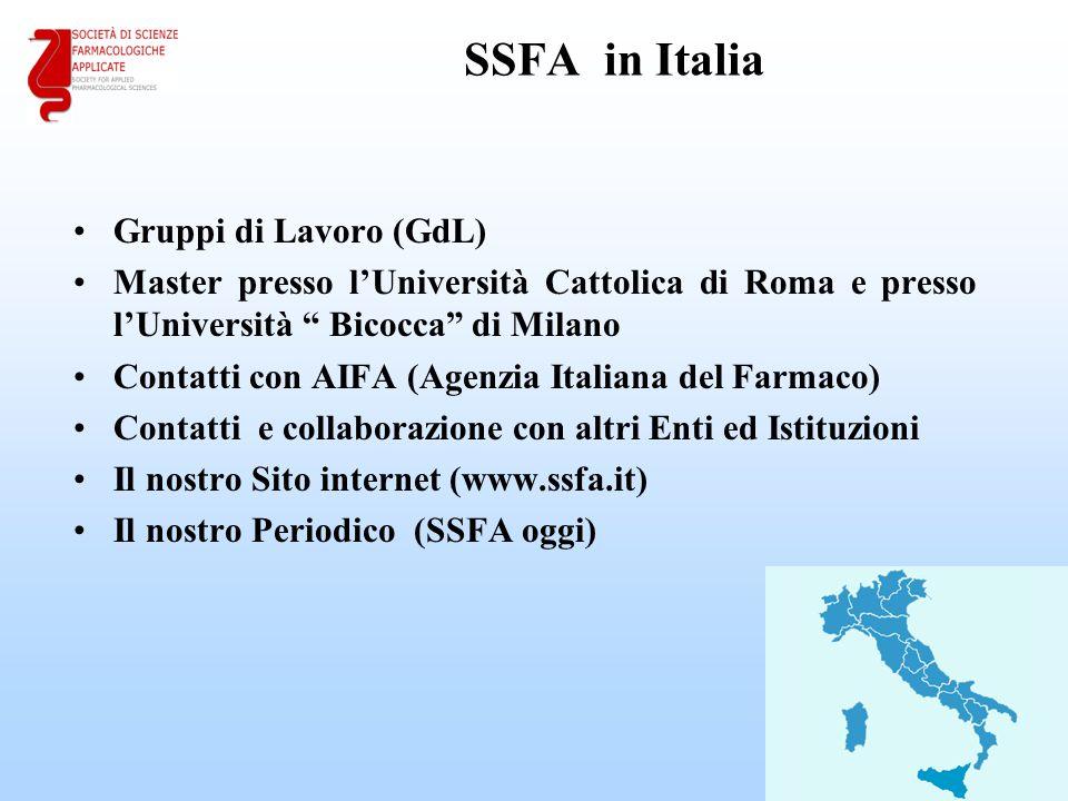 """SSFA in Italia Gruppi di Lavoro (GdL) Master presso l'Università Cattolica di Roma e presso l'Università """" Bicocca"""" di Milano Contatti con AIFA (Agenz"""