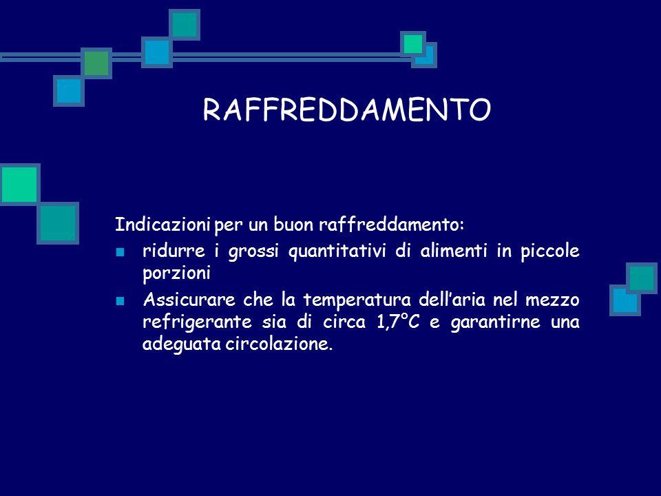 RAFFREDDAMENTO Indicazioni per un buon raffreddamento: ridurre i grossi quantitativi di alimenti in piccole porzioni Assicurare che la temperatura del