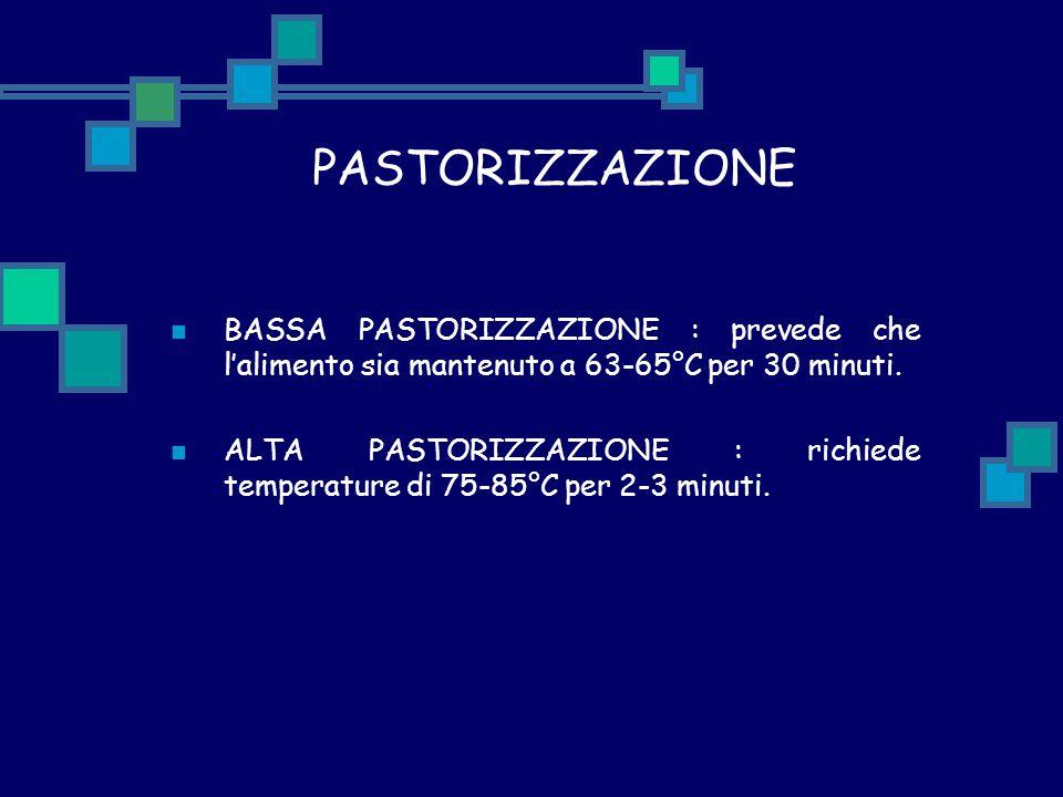 PASTORIZZAZIONE BASSA PASTORIZZAZIONE : prevede che l'alimento sia mantenuto a 63-65°C per 30 minuti. ALTA PASTORIZZAZIONE : richiede temperature di 7