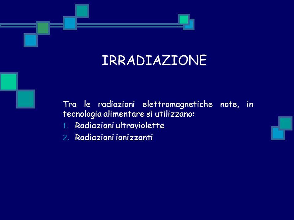 IRRADIAZIONE Tra le radiazioni elettromagnetiche note, in tecnologia alimentare si utilizzano: 1. Radiazioni ultraviolette 2. Radiazioni ionizzanti