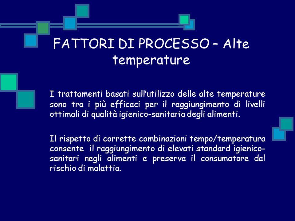FATTORI DI PROCESSO – Alte temperature I trattamenti basati sull'utilizzo delle alte temperature sono tra i più efficaci per il raggiungimento di live