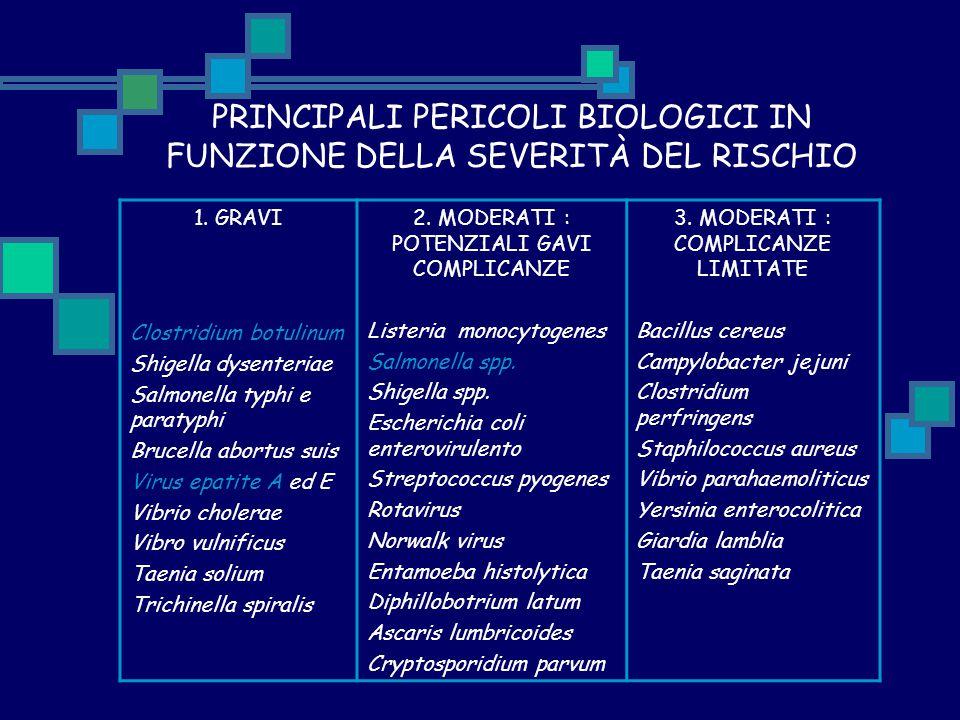 PRINCIPALI PERICOLI BIOLOGICI IN FUNZIONE DELLA SEVERITÀ DEL RISCHIO 1. GRAVI Clostridium botulinum Shigella dysenteriae Salmonella typhi e paratyphi